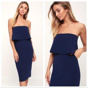 NWT Lulu's | Lots of Love Blue Strapless Dress